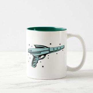 Star Ray Gun Laser Pistol Two-Tone Coffee Mug