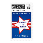 Star red stripes patriotic wedding save the date postage