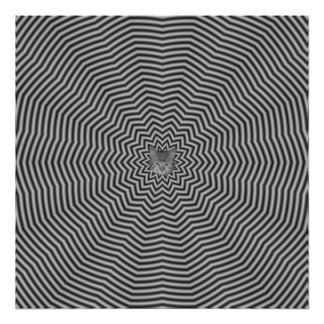 Star Ripples in Black and White Poster