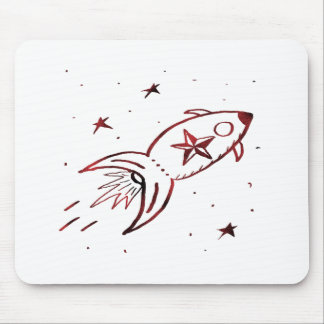 Star Rocketship Red Black Combo - Mouse Pads
