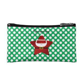 Star santa green and white polka dots cosmetic bag