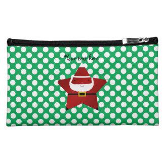 Star santa green and white polka dots cosmetic bags