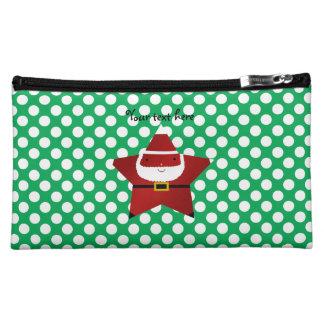 Star santa green and white polka dots cosmetics bags