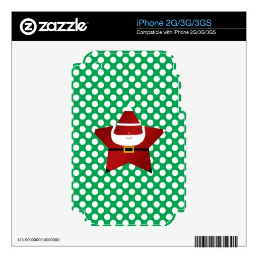 Star santa green and white polka dots skins for iPhone 3