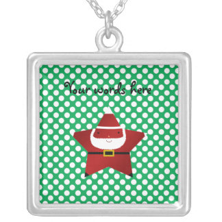 Star santa with green and red polka dots personalized necklace