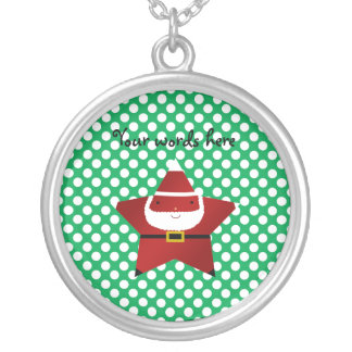 Star santa with green and red polka dots necklace