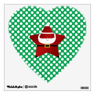 Star santa with green and red polka dots room graphics