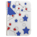 Star Shadow Bright Red White Blue Kindle Case