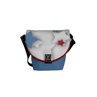 Star Shadow Red White & Blue Mini Messenger Bag