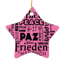 Star shape Multilingual peace Christmas decoration