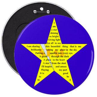 Star Shape Poem Badge Pinback Button