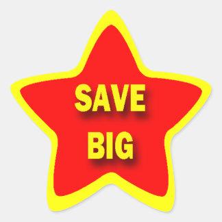 Star Shape SAVE BIG Retail Stickers