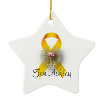 Star Shaped Angel Childhood Cancer Awareness Ceramic Ornament