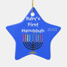 Star Shaped Baby's First  Hanukkah Ornament at Zazzle