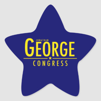 Star Shaped Blue Sticker with Yellow George Logo
