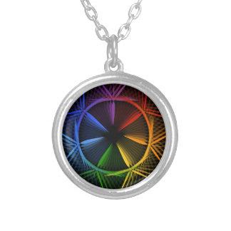 Star shaped design element round pendant necklace