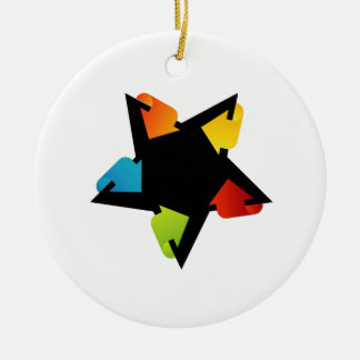 Star shaped design element with colorful arrows Double-Sided ceramic round christmas ornament