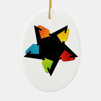 Star shaped design element with colorful arrows Double-Sided oval ceramic christmas ornament