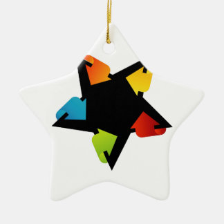 Star shaped design element with colorful arrows Double-Sided star ceramic christmas ornament
