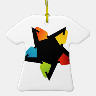 Star shaped design element with colorful arrows Double-Sided T-Shirt ceramic christmas ornament
