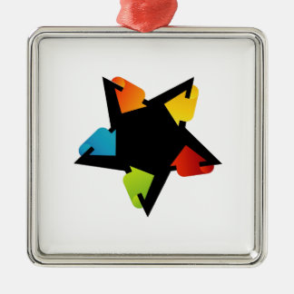 Star shaped design element with colorful arrows square metal christmas ornament
