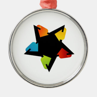 Star shaped design element with colorful arrows round metal christmas ornament