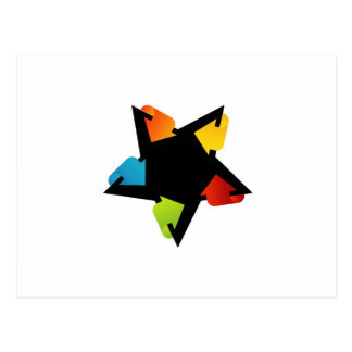 Star shaped design element with colorful arrows postcard