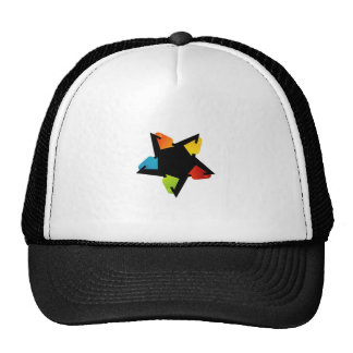 Star shaped design element with colorful arrows trucker hat