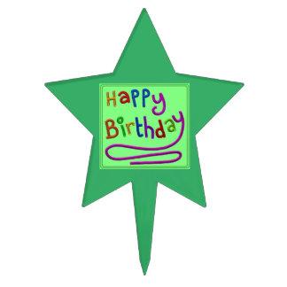 Star Shaped Green Birthday Cake Topper