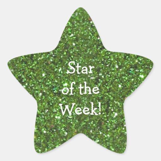 STAR-SHAPED GREEN GLITTER STAR OF WEEK STICKERS
