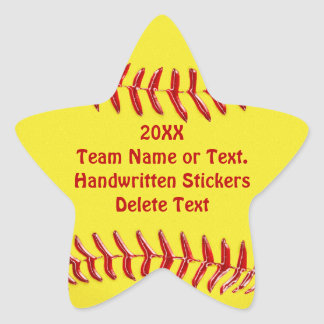 Star Shaped Softball Stickers Your Text or Blank