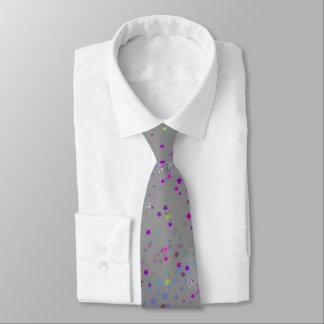 Star Shine Party Stars, silver Neck Tie
