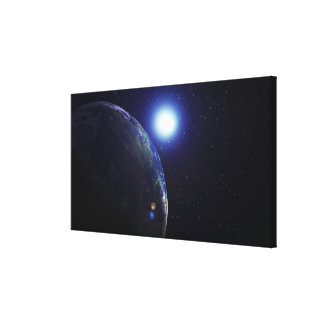 Star shining on Earth Stretched Canvas Print