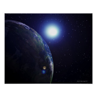 Star shining on Earth Poster