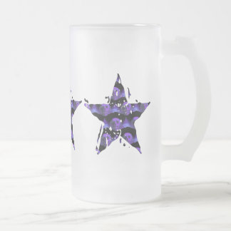 Star Skulls Frosted Glass Beer Mug