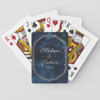 Star Sky Celestial Galaxy Watercolor Wedding Favor Playing Cards