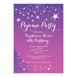 Star Sleepover Party Birthday Party Invitations
