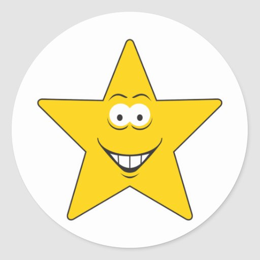 Star Smiley Face Classic Round Sticker