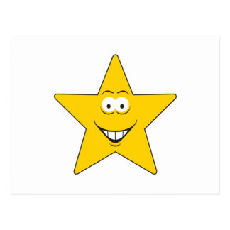Star Smiley Face Post Card