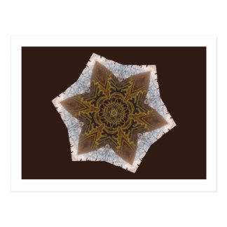 Star Snowflake Aztec Inca Indian Gold Brown White Post Card
