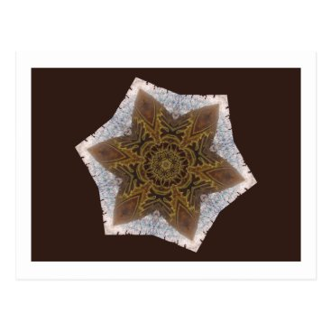 Aztec Themed Star Snowflake Aztec Inca Indian Gold Brown White Postcard