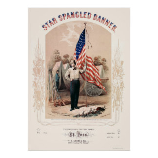 Star Spangled Banner Lithograph by P.S. Duval 1861 Posters