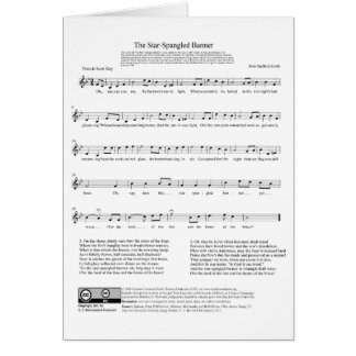 Star-Spangled Banner National Anthem Music Sheet Card