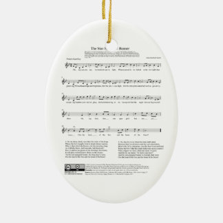 Star-Spangled Banner National Anthem Music Sheet Ceramic Ornament