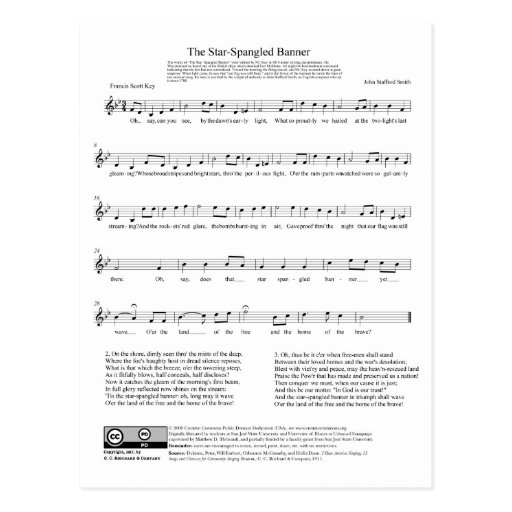 Star-Spangled Banner National Anthem Music Sheet Post Cards