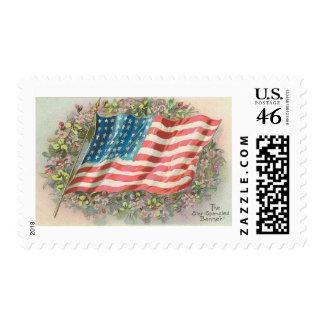 Star Spangled Banner Old Glory Floral Postage Stamp