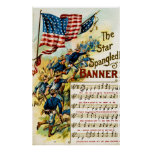 Star Spangled Banner - Sheet Music 1908 Vintage Poster