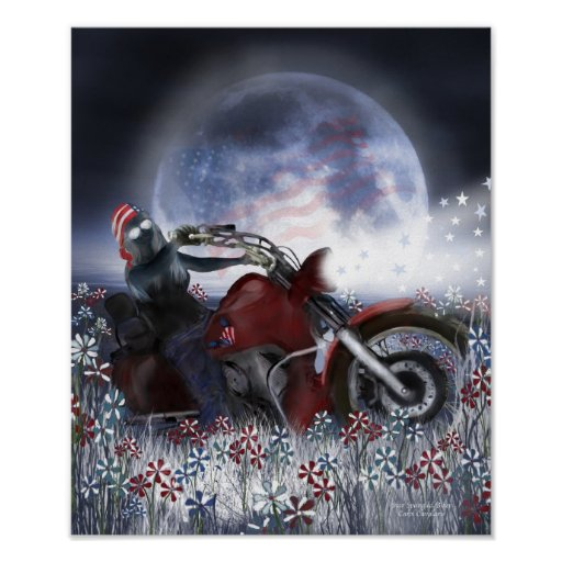 Star Spangled Biker Art Poster/Print