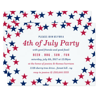 Star-spangled Confetti 4th Of July Party Card at Zazzle