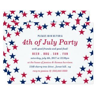Star-Spangled Confetti 4th Of July Party Invitation